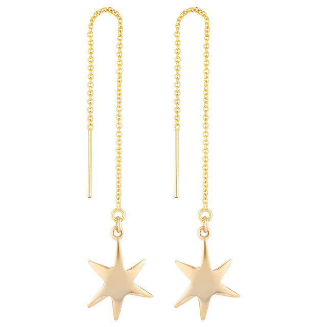 The Momo Earrings - 14k gold-filled, dangle earrings with a thread-through feature and star charm, by Elvis et moi