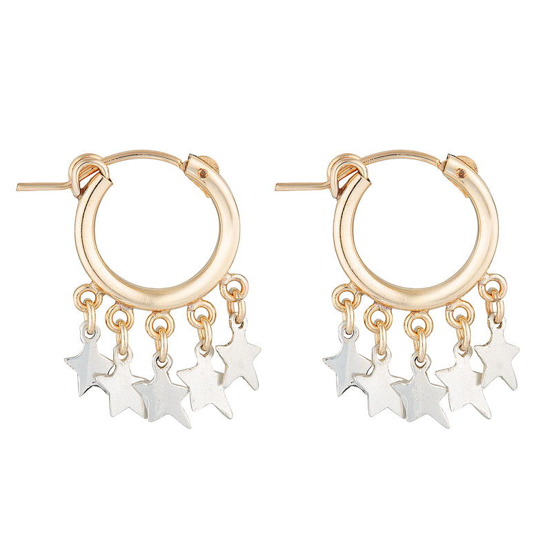 The Zeus Etoile Earrings - 14k gold-filled, mini hoop earrings with sterling silver star charms, by Elvis et moi.