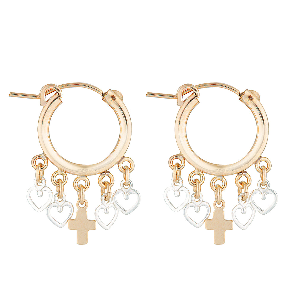 The Zeus Coeur Earrings - 14k gold-filled, mini hoop earrings with heart charms and a cross charm, by Elvis et moi.