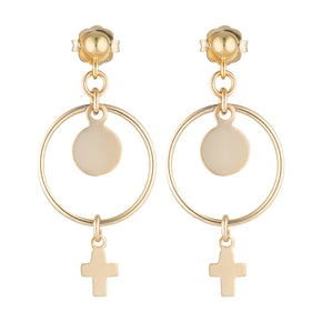 The Noah Earrings - 14k gold-filled, drop earrings with cross and disc charms, by Elvis et moi.