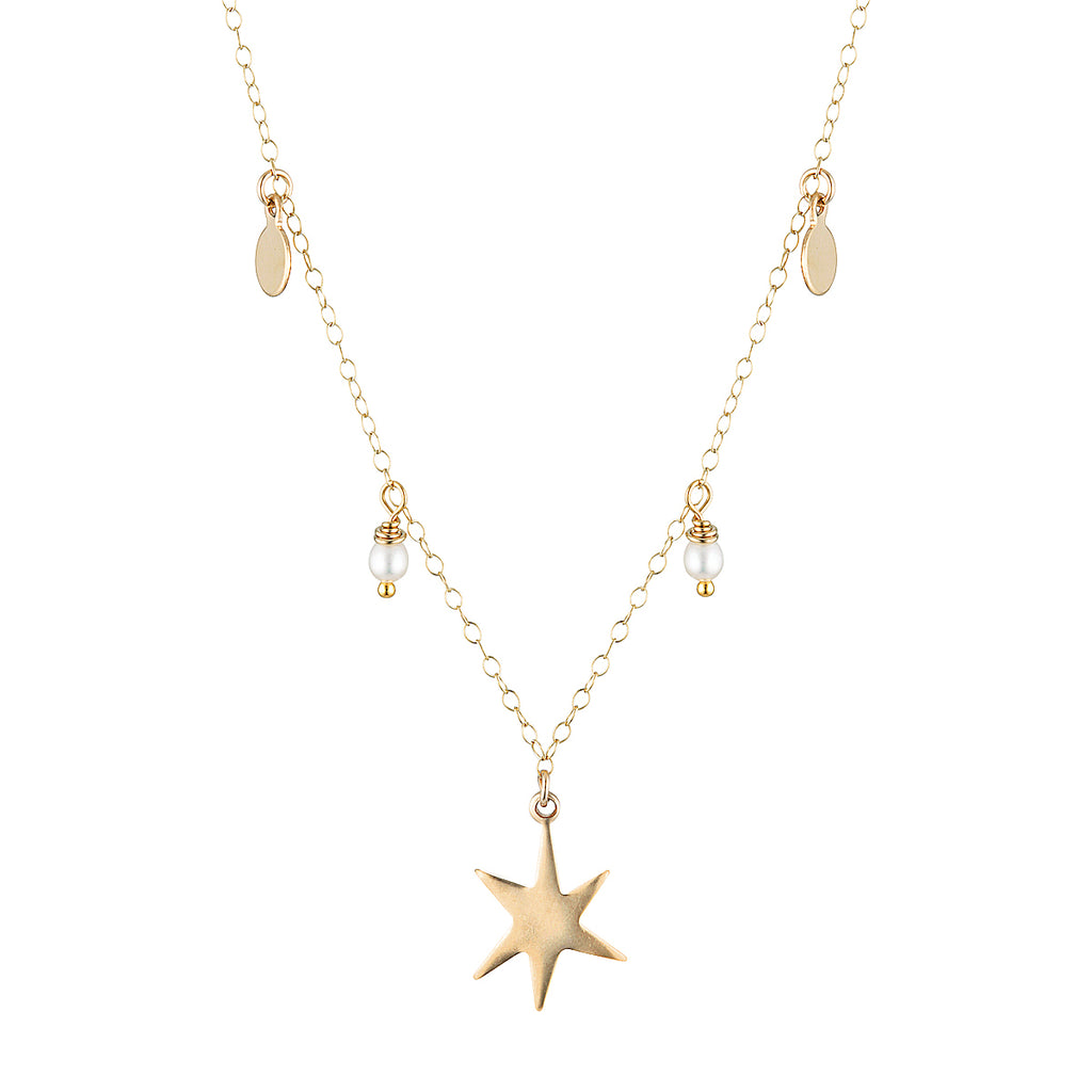 The Gavin Necklace - 14k gold-filled pendant necklace with star charm and freshwater pearls, by Elvis et moi