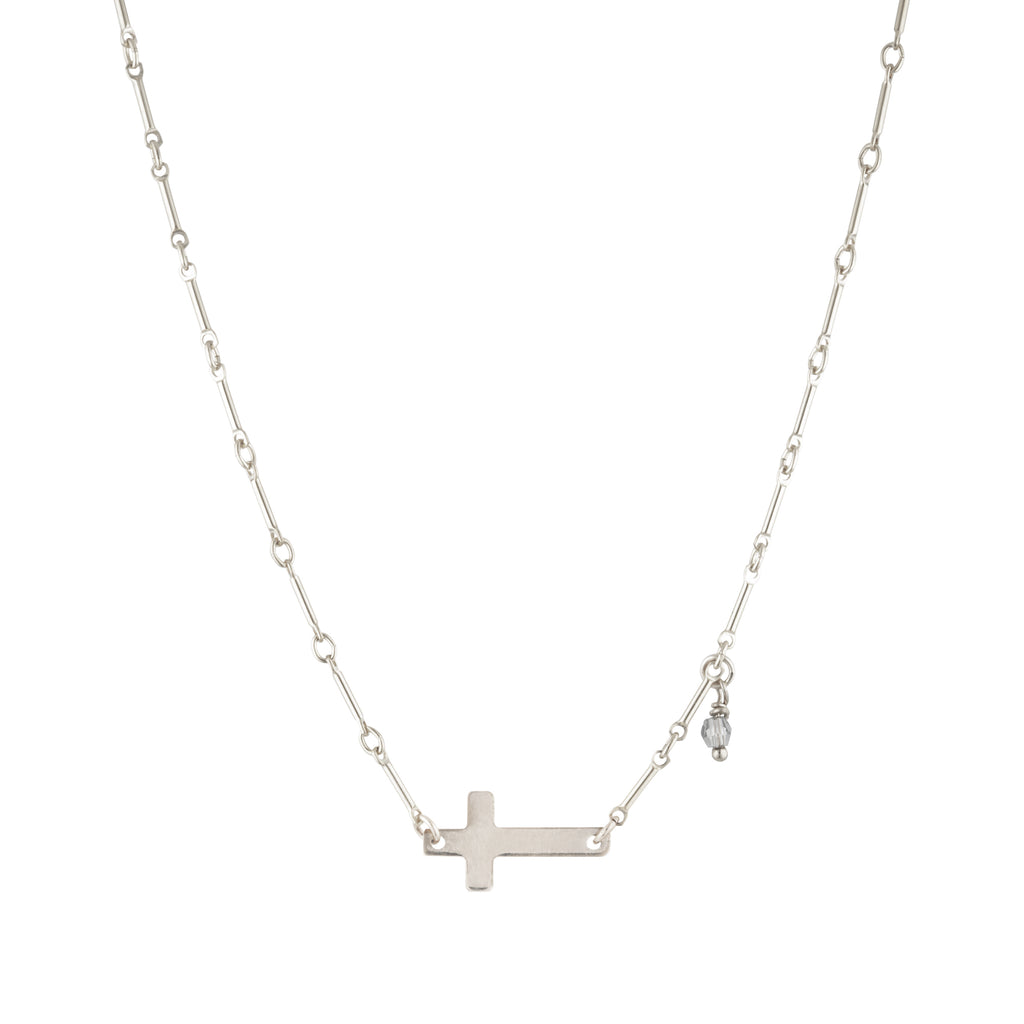 The Silver Axel Necklace - sterling silver chain necklace with silver cross charm by Elvis et moi