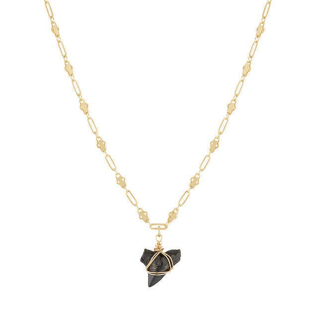 The Shark Choker - 14k gold-filled choker chain with fossilised shark tooth pendant, by Elvis et moi