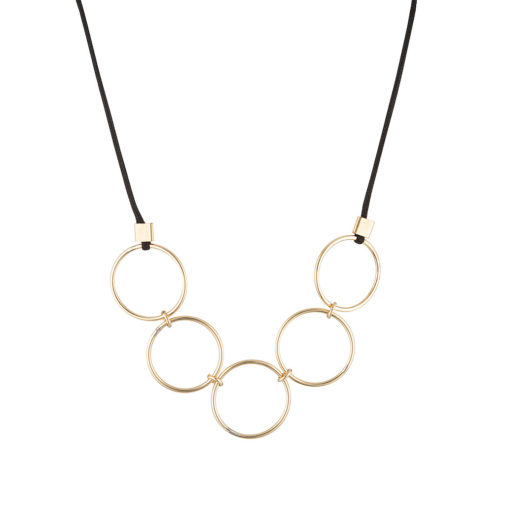 The Luis Choker - Five 14k gold-filled circles on a choker of black cord, by Elvis et moi