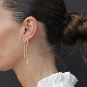 Model wearing the Petit Coeur earrings by Elvis et moi