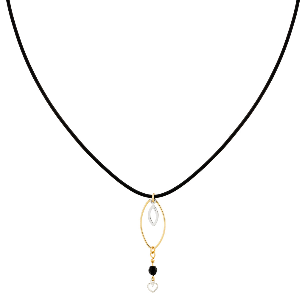 The Diego Necklace - black leather cord choker with gold-filled and silver charms, by Elvis et moi