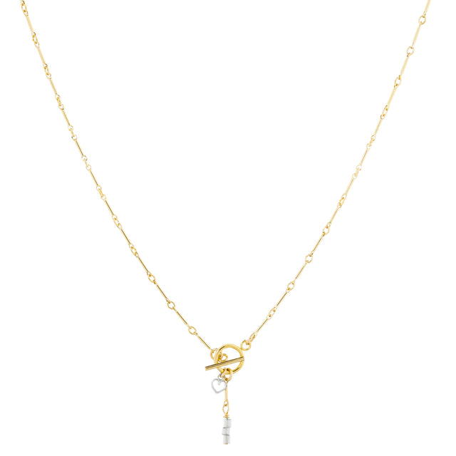 The Toujours Necklace - 14k gold-filled pendant necklace with sterling silver charms and glass beads, by Elvis et moi