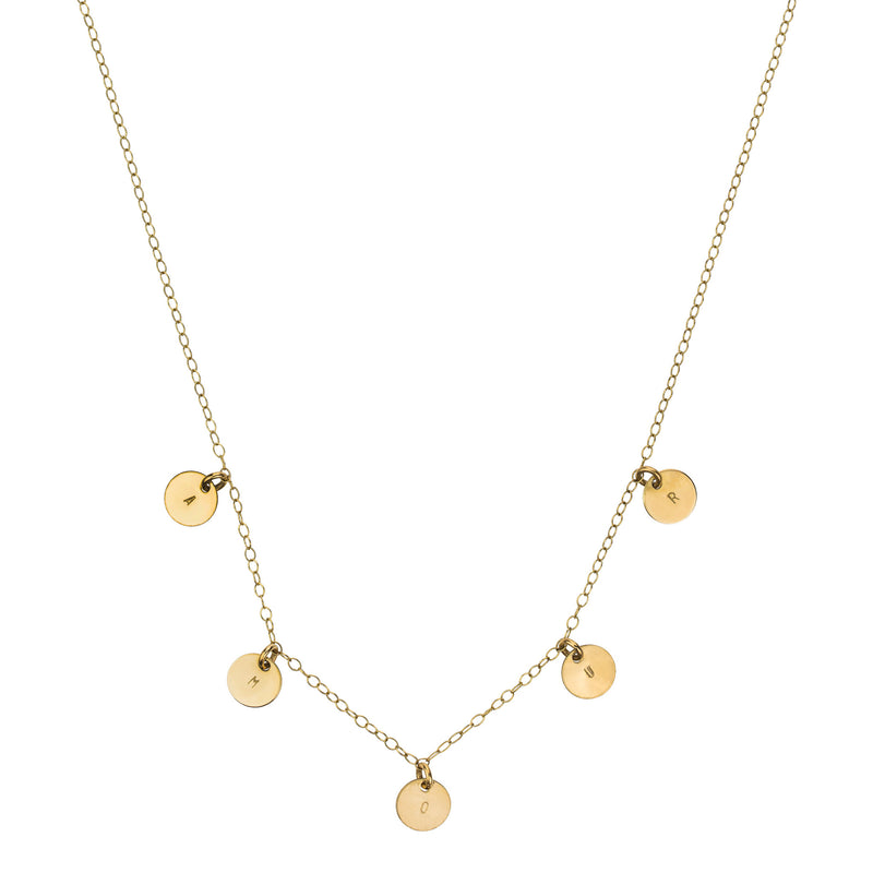 The Elvis Necklace - 14k gold-filled chain with 5 letter stamped tags, by Elvis et moi