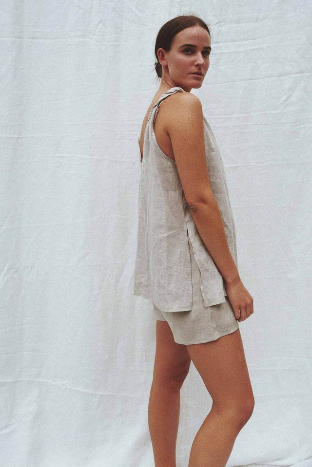 Burns sleeveless linen top - Sand