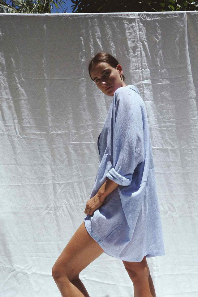 Byron oversized cotton shirt - Light blue pinstripe