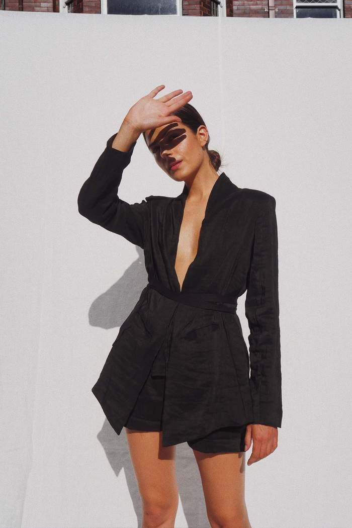 The Samuel silk linen blazer - Black
