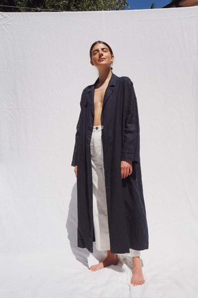 The Victor oversized linen coat - Indigo
