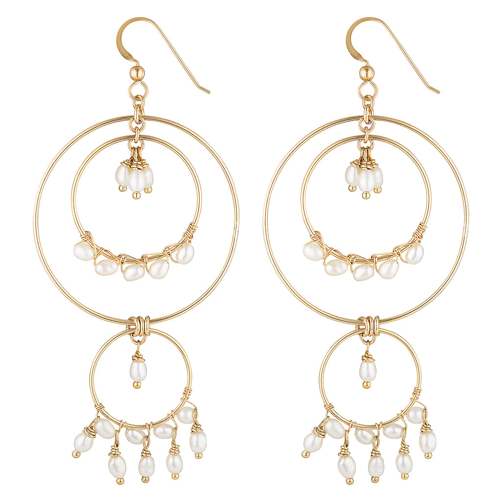 The Catch A Dream Earrings - 14k gold-filled, dangle earrings with circles and many freshwater pearls, by Elvis et moi.