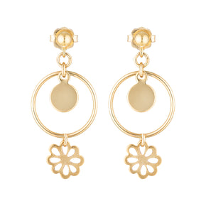 The Golden Fleur Earrings - 14k gold-filled, drop earrings with a disc and flower charms, by Elvis et moi.