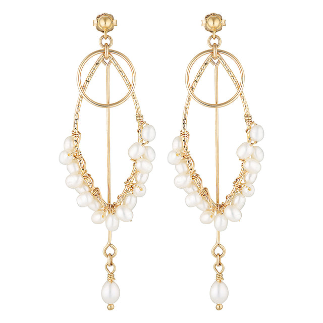 The Honeycomb Earrings - 14k gold-filled, dangle earrings with circles and a string of freshwater pearls, by Elvis et moi.
