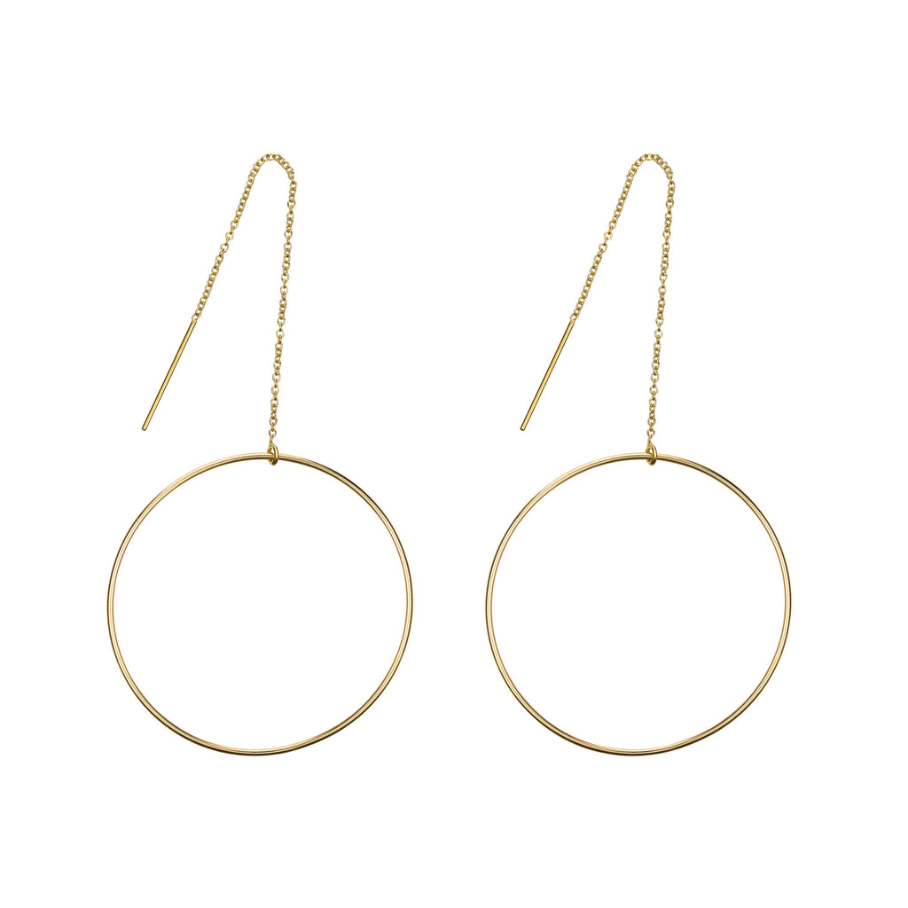 The Manon Grande Earrings - 14k gold-filled threader earrings with large circles by Elvis et moi