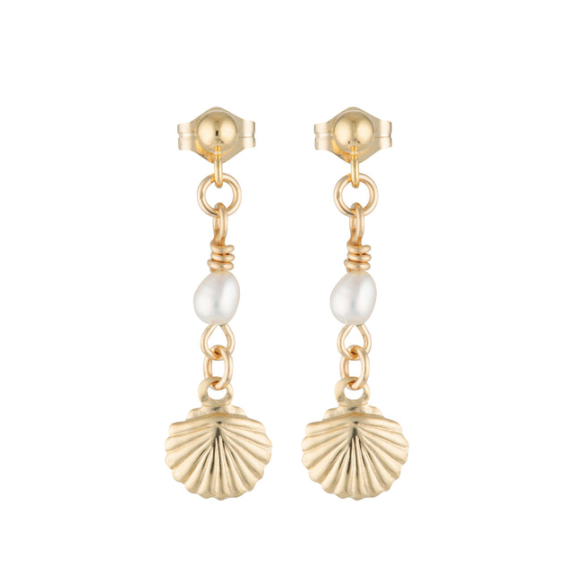The Shelly Earrings - 14k gold-filled, drop earrings with freshwater pearls and gold-filled shell charms, by Elvis et moi.