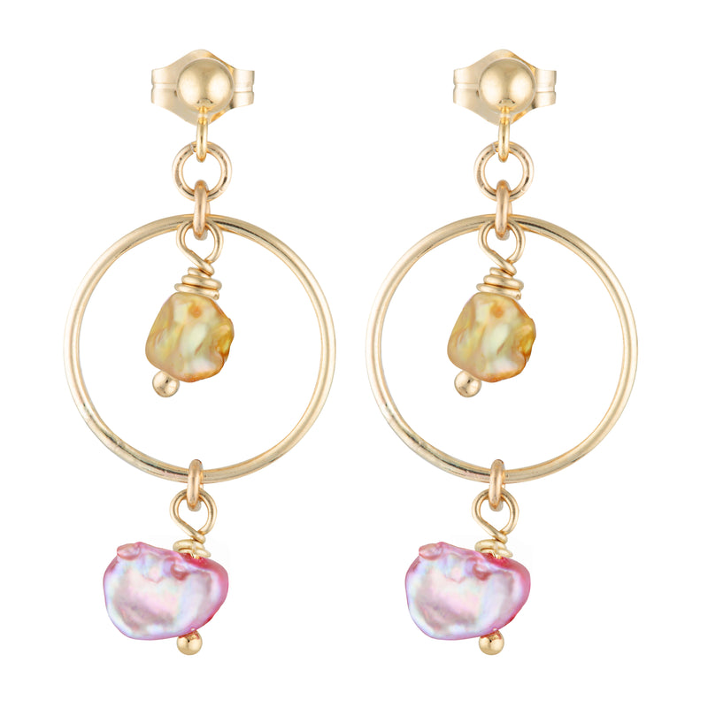 The Sweet Earrings - 14k gold-filled drop earrings with coloured, natural, freshwater pearls, by Elvis et moi