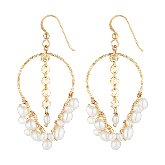 The White Night Earrings - 14k gold-filled, dangle earrings with a string of freshwater pearls, by Elvis et moi.