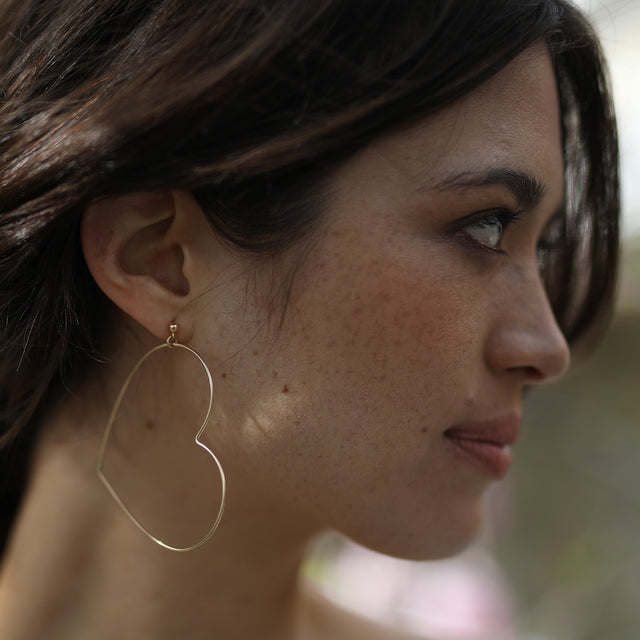 Model wearing the Wild at Heart earrings by Elvis et moi
