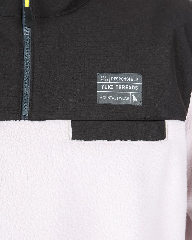 Sherpa Fleece Off White / Charcoal - Yuki Threads