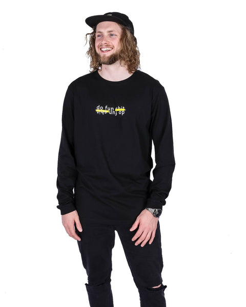 Do Fun Shit LS Tee Black - Yuki Threads