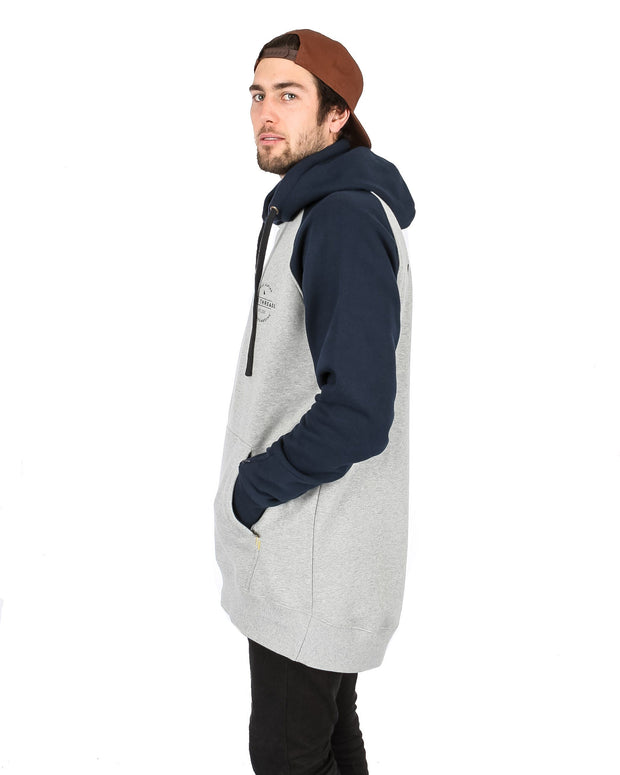 Retro Hoodie Heather Grey / Navy - Yuki Threads