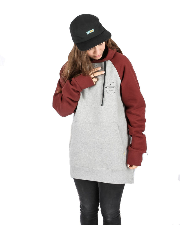 Retro Hoodie Heather Grey / Maroon - Yuki Threads