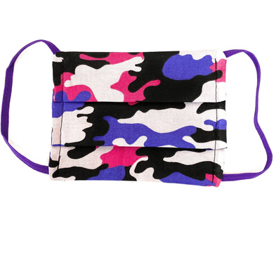 Pink and Purple Camo Face Mask