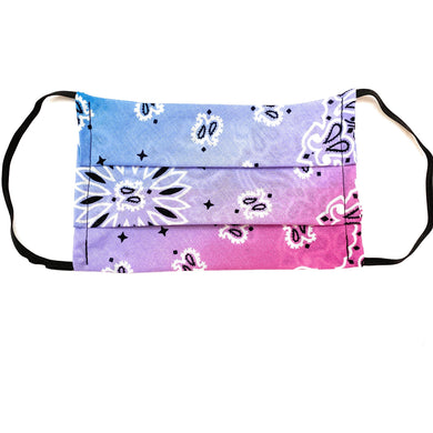 Blue and Pink Bandana Face Mask | Locked Down Designs
