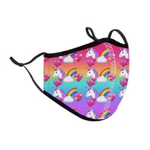Load image into Gallery viewer, Top Trenz Rainbow Unicorn Face Mask - Locked Down Designs