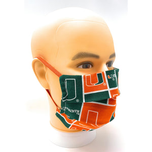 University of Miami Hurricanes 100% Cotton Face Mask