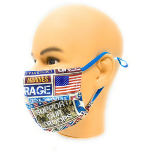 Support Our Troops Face Mask, 100% Cotton Double Layer, 3M Aluminum Nose Bridge, Filter Pocket with PM2.5 Filter Included, 6mm Soft Support Our Troops Patriotic Face Mask | Locked Down Designs Elastic