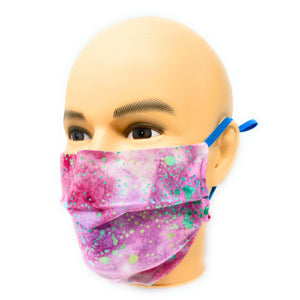 Pink Paint Splatter Batik Face Mask | Locked Down Designs