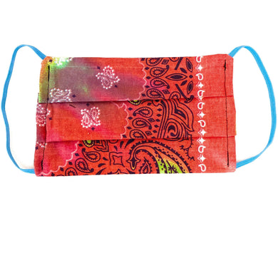 Red Tie Dye Bandana Face Mask | Locked Down Designs