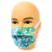 Load image into Gallery viewer, Aqua Floral Batik Face Mask | Locked Down Designs