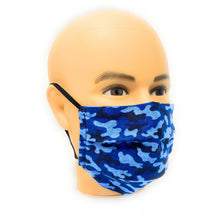Load image into Gallery viewer, Blue and Black Camo Face Mask | Locked Down Designs