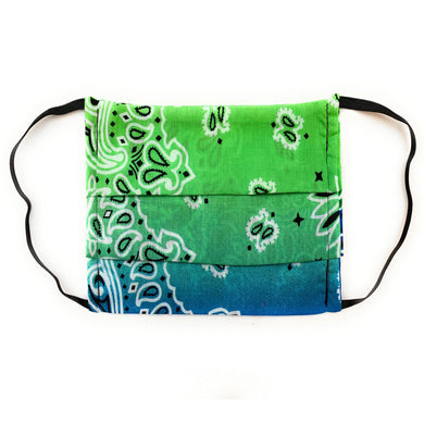 Green and Blue Bandana Face Mask | Locked Down Designs