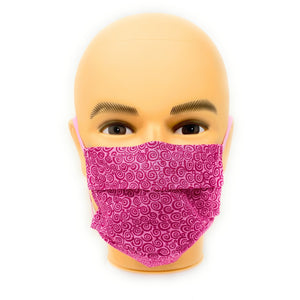 Pink Curly Q Breast Cancer Face Mask | Locked Down Designs
