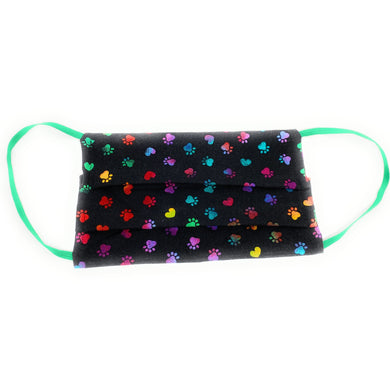 Rainbow Paw Print 100% Cotton Face Mask | Locked Down Designs