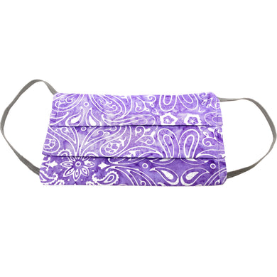 Purple Bandana Face Mask with PM2.5 Filter, 100% Cotton