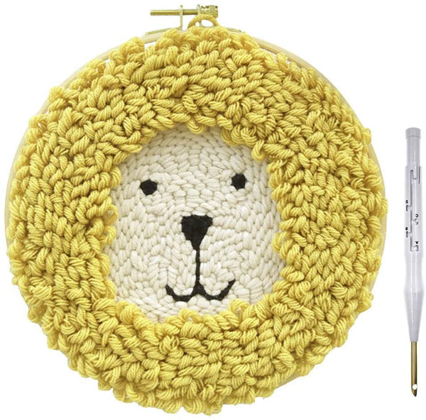Punch Needle Starter Kits Punch Needle Tool DIY Rug Punch Beginners Kit with an Adjustable Punch Needle Embroidery Frame Rainbow Animal Lighthouse Landscape Figure by Sixpi 300pcs Pom Poms