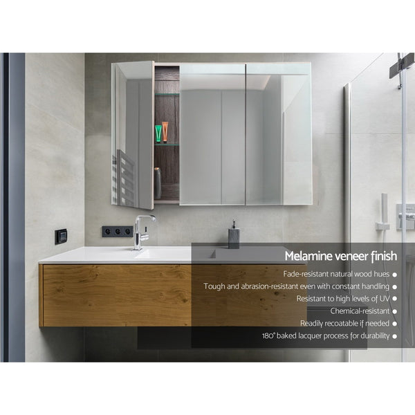 Cefito Bathroom Vanity Mirror with Storage Cabinet - Natural - Cefito