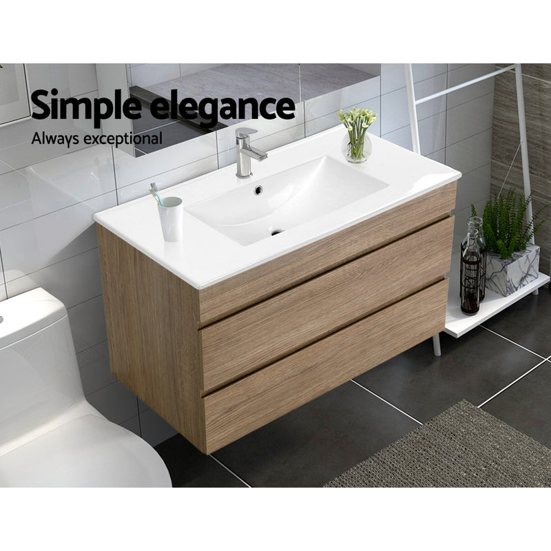 Cefito 900mm Bathroom Vanity Cabinet Wash Basin Unit Sink Storage Wall Mounted Oak White - Cefito