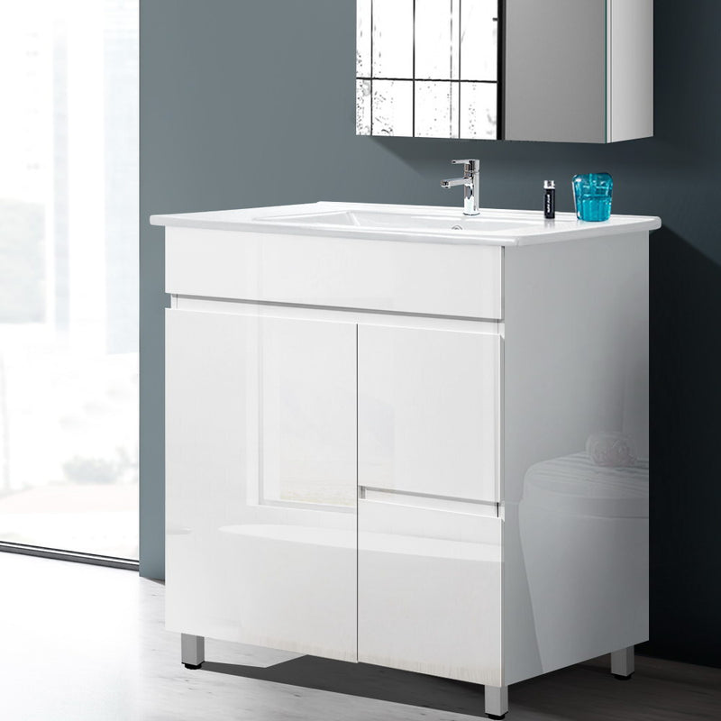 Cefito 750mm Bathroom Vanity Cabinet Unit Wash Basin Sink Storage Freestanding White - Cefito