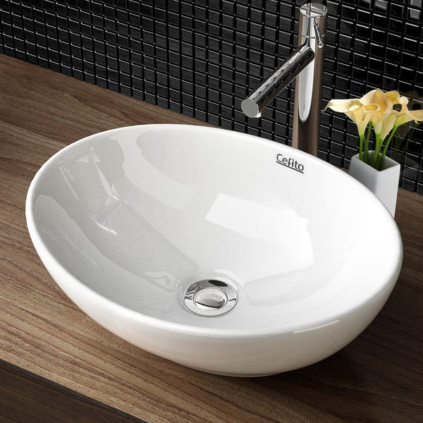 Cefito Ceramic Oval Sink Bowl - White - Cefito