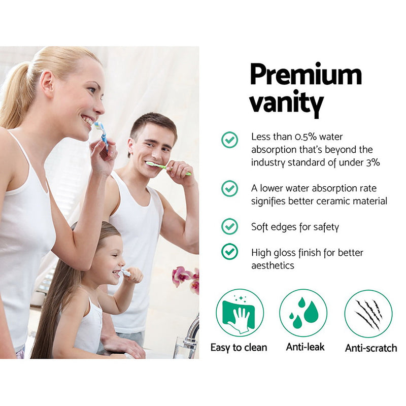 Cefito Ceramic Bathroom Basin Sink Vanity Above Counter Basins Bowl Black White - Cefito
