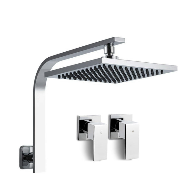 Cefito WELS 8 Rain Shower Head Set Bathroom Gooseneck Square Taps Hand Held High Pressure DIY - Cefito