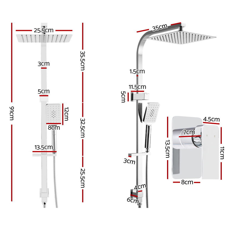 Cefito WELS 10 Rain Shower Head Set Bathroom Square Dual Heads Mixer Hand Held High Pressure - Cefito