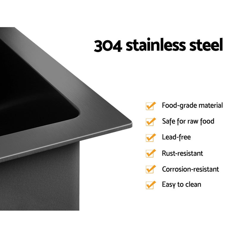 Cefito 600 x 450mm Stainless Steel Sink - Black - Cefito